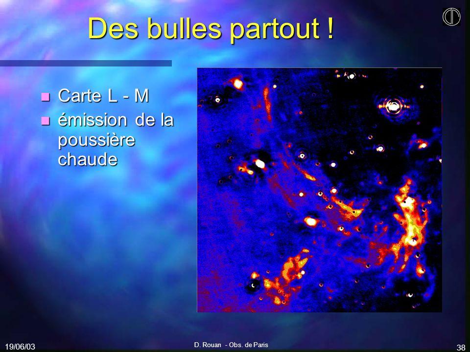 19/06/03 D. Rouan - Obs. de Paris 38 Des bulles partout ! n Carte L - M n émission de la poussière chaude