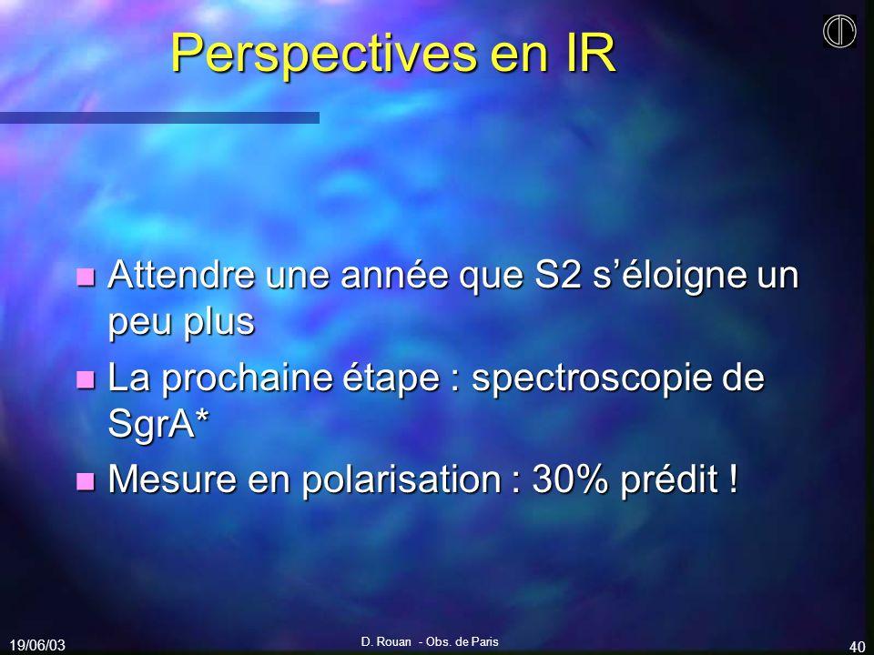 19/06/03 D. Rouan - Obs. de Paris 40 Perspectives en IR n Attendre une année que S2 séloigne un peu plus n La prochaine étape : spectroscopie de SgrA*