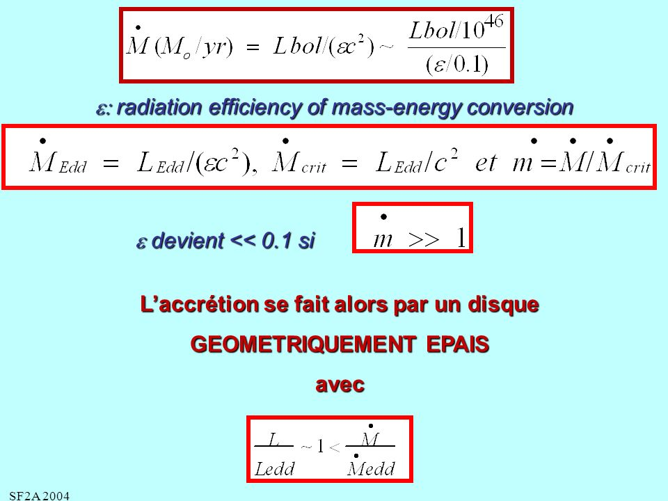 SF2A 2004 radiation efficiency of mass-energy conversion radiation efficiency of mass-energy conversion devient << 0.1 si devient << 0.1 si Laccrétion se fait alors par un disque GEOMETRIQUEMENT EPAIS avec