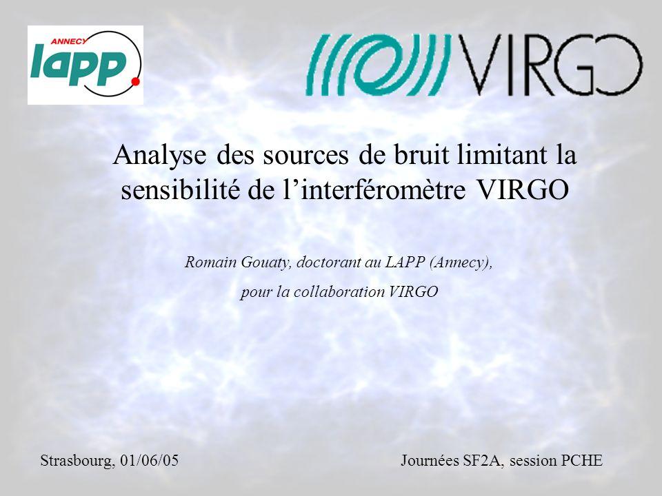 Analyse des sources de bruit limitant la sensibilité de linterféromètre VIRGO Romain Gouaty, doctorant au LAPP (Annecy), pour la collaboration VIRGO Strasbourg, 01/06/05Journées SF2A, session PCHE
