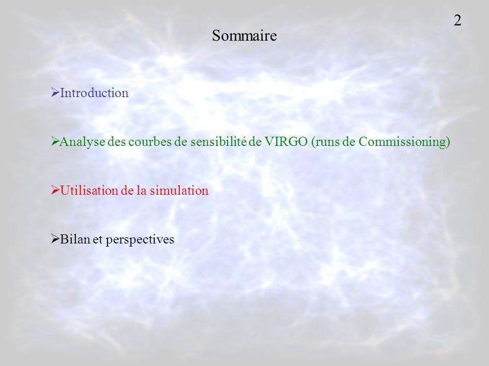 Sommaire Introduction Analyse des courbes de sensibilité de VIRGO (runs de Commissioning) Utilisation de la simulation Bilan et perspectives 2