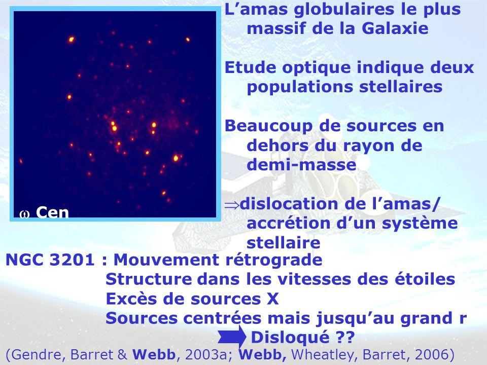Lamas globulaires le plus massif de la Galaxie Etude optique indique deux populations stellaires Beaucoup de sources en dehors du rayon de demi-masse dislocation de lamas/ accrétion dun système stellaire (Gendre, Barret & Webb, 2003a; Webb, Wheatley, Barret, 2006) Cen NGC 3201 : Mouvement rétrograde Structure dans les vitesses des étoiles Excès de sources X Sources centrées mais jusquau grand r Disloqué