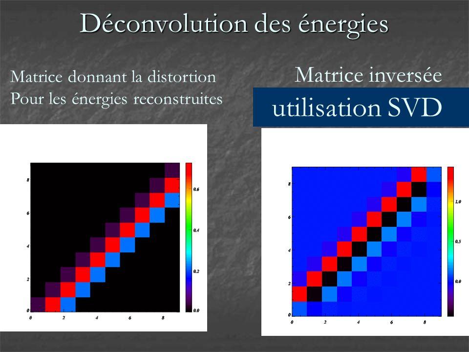 Matrice donnant la distortion Pour les énergies reconstruites Matrice inversée SINGULIERE !!.
