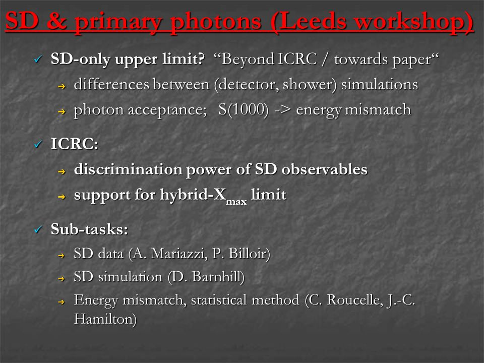 SD & primary photons (Leeds workshop) SD-only upper limit.