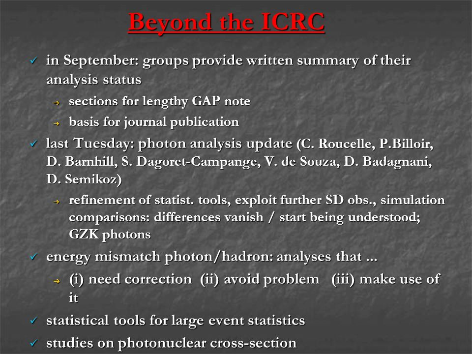 Beyond the ICRC in September: groups provide written summary of their analysis status in September: groups provide written summary of their analysis status sections for lengthy GAP note sections for lengthy GAP note basis for journal publication basis for journal publication last Tuesday: photon analysis update (C.