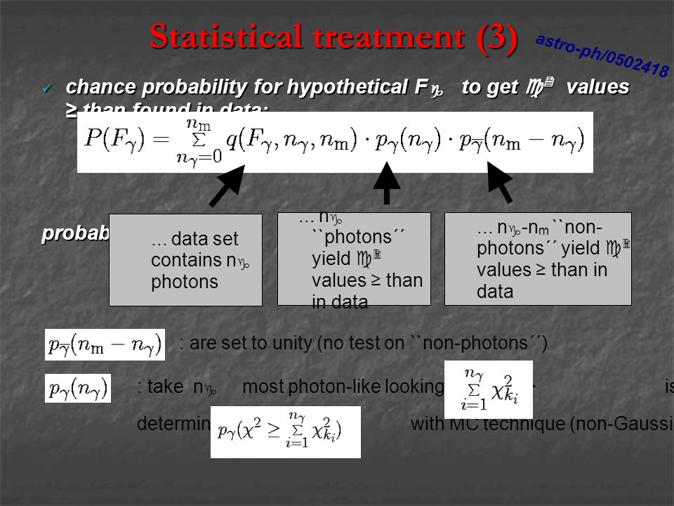 Statistical treatment (3) chance probability for hypothetical F g to get c 2 values than found in data: chance probability for hypothetical F g to get