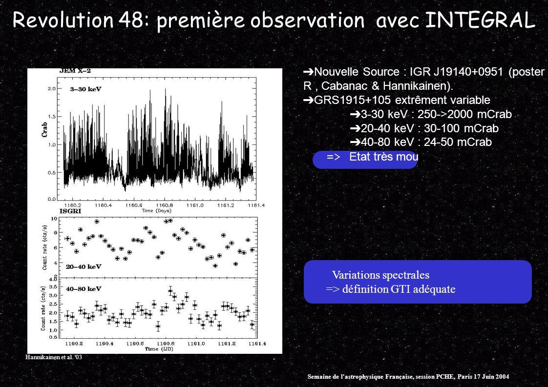 Revolution 48: première observation avec INTEGRAL Nouvelle Source : IGR J19140+0951 (poster R, Cabanac & Hannikainen). GRS1915+105 extrêment variable