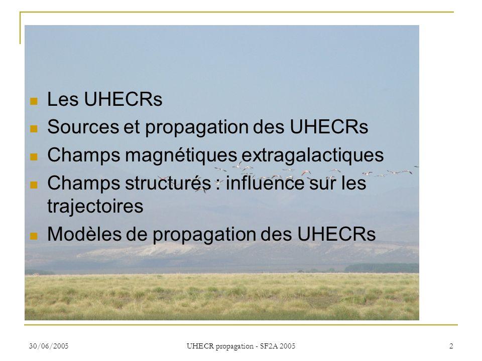 30/06/2005 UHECR propagation - SF2A 2005 2 Les UHECRs Sources et propagation des UHECRs Champs magnétiques extragalactiques Champs structurés : influe