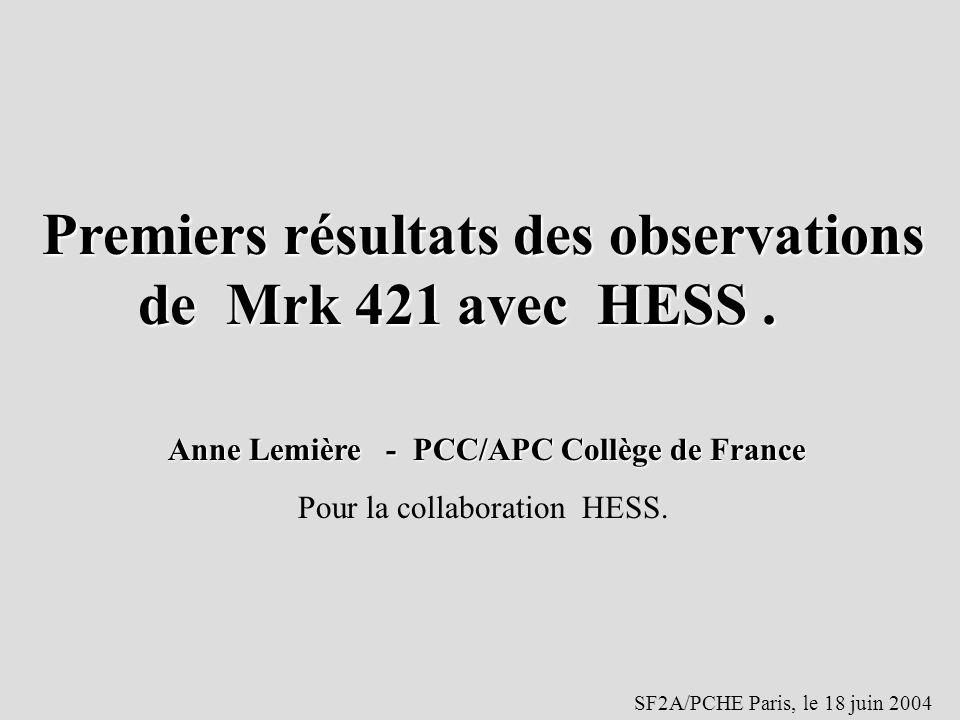 Premiers résultats des observations de Mrk 421 avec HESS. Anne Lemière - PCC/APC Collège de France Anne Lemière - PCC/APC Collège de France Pour la co