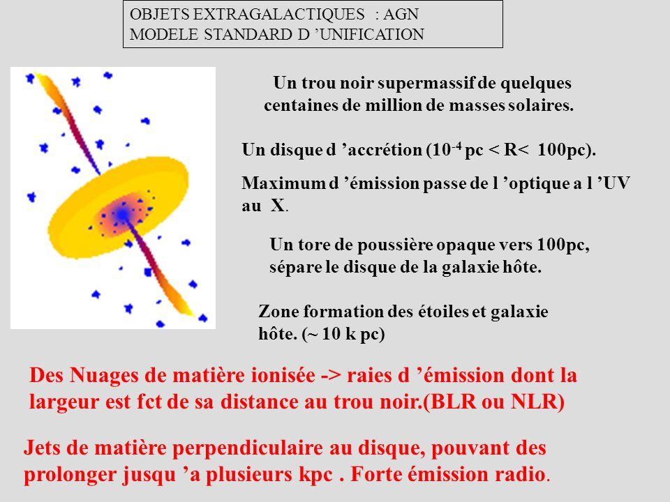 Un trou noir supermassif de quelques centaines de million de masses solaires. Un disque d accrétion (10 -4 pc < R< 100pc). Maximum d émission passe de