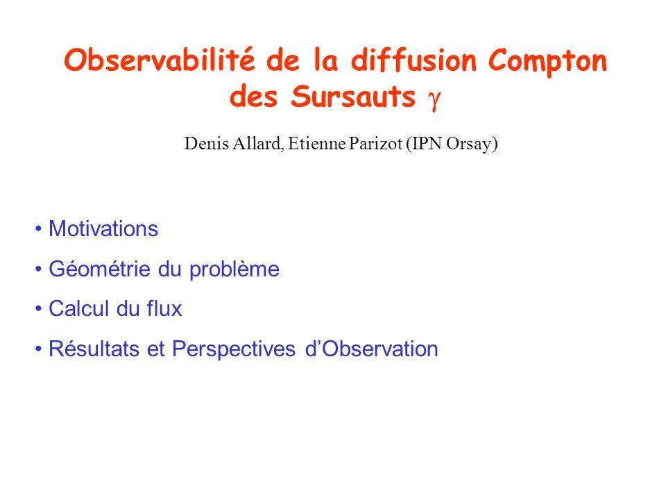 Observabilité de la diffusion Compton des Sursauts Motivations Géométrie du problème Calcul du flux Résultats et Perspectives dObservation Denis Allar
