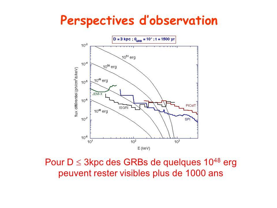 Perspectives dobservation Pour D 3kpc des GRBs de quelques 10 48 erg peuvent rester visibles plus de 1000 ans