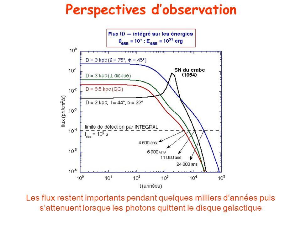 Les flux restent importants pendant quelques milliers dannées puis sattenuent lorsque les photons quittent le disque galactique Perspectives dobservat