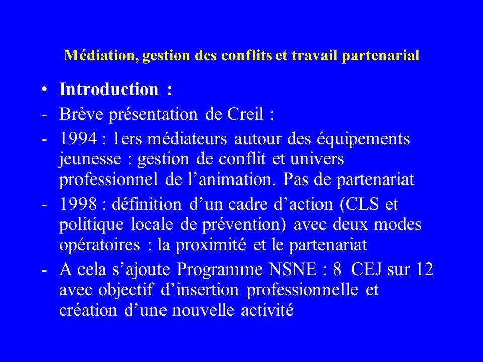 Médiation, gestion des conflits et travail partenarial Introduction : -Brève présentation de Creil : -1994 : 1ers médiateurs autour des équipements je