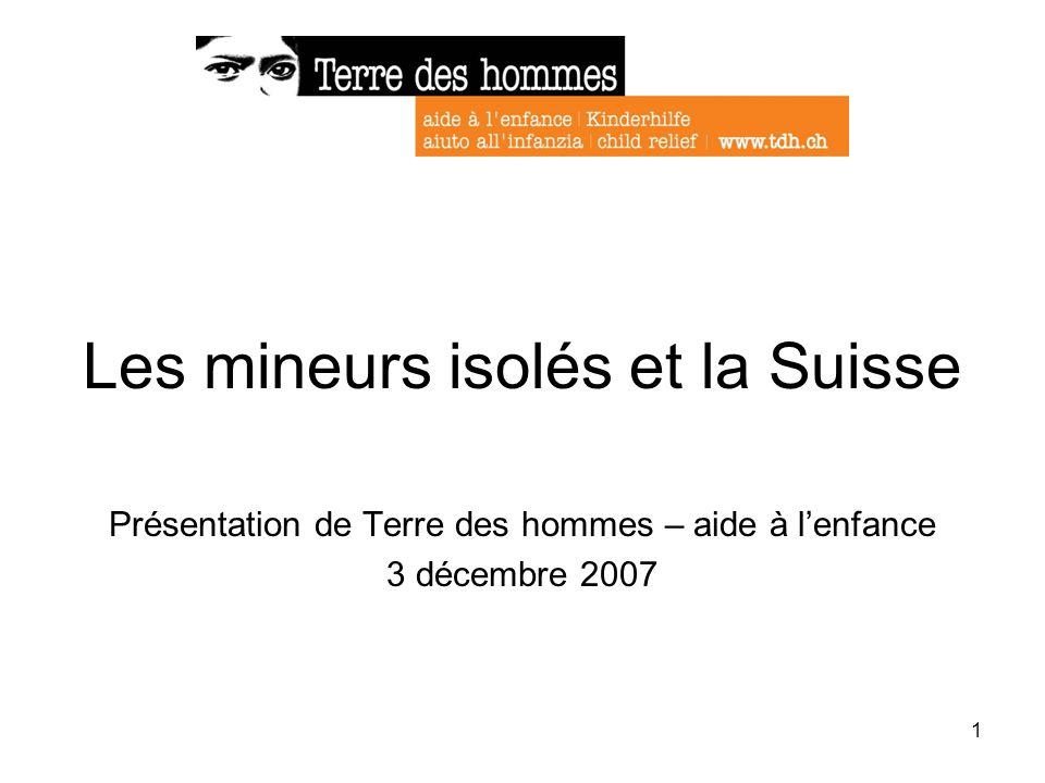 1 Les mineurs isolés et la Suisse Présentation de Terre des hommes – aide à lenfance 3 décembre 2007