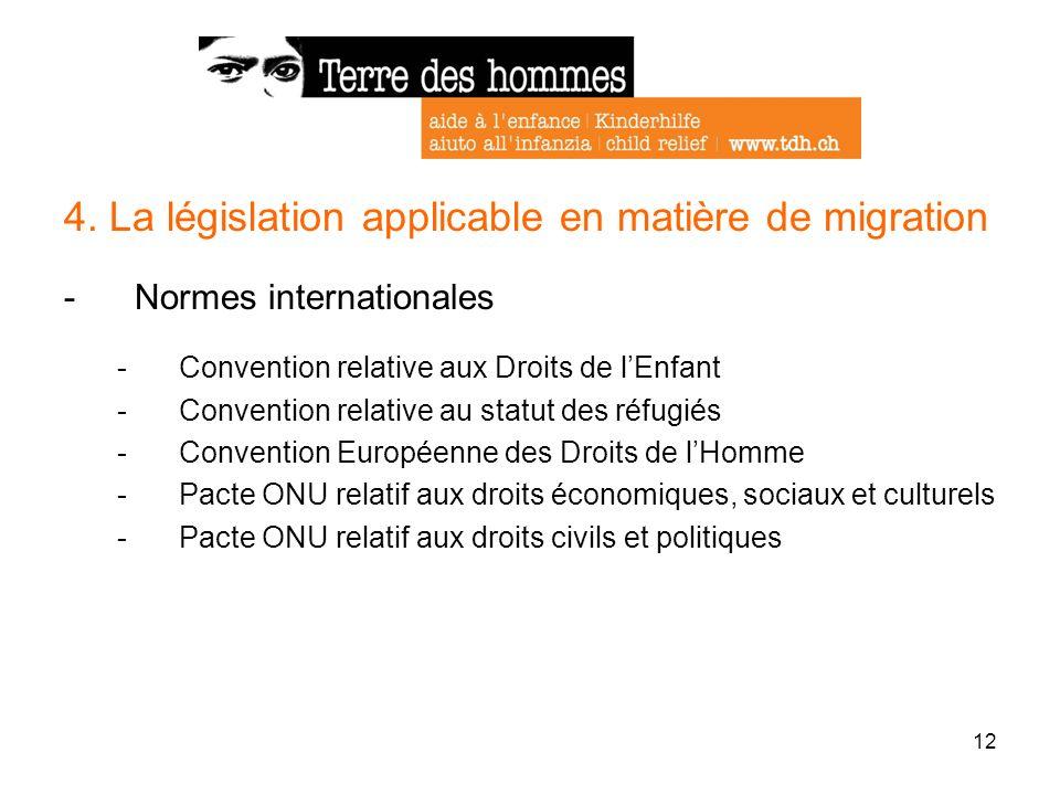 12 4. La législation applicable en matière de migration -Normes internationales -Convention relative aux Droits de lEnfant -Convention relative au sta