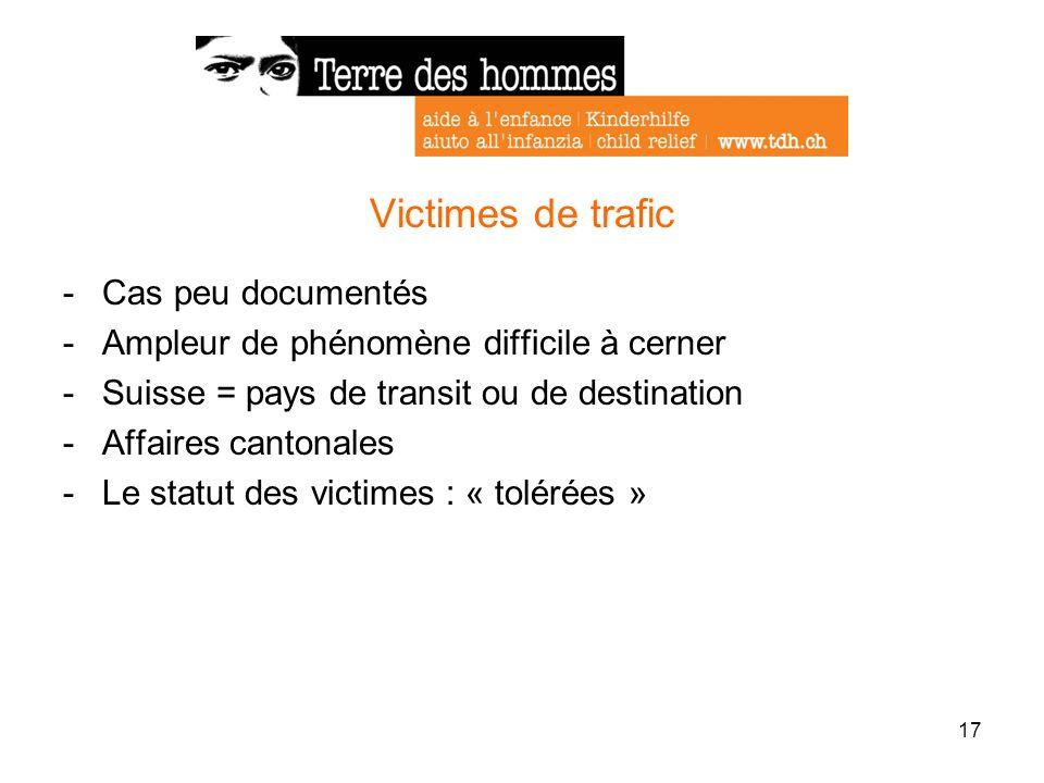 17 Victimes de trafic -Cas peu documentés -Ampleur de phénomène difficile à cerner -Suisse = pays de transit ou de destination -Affaires cantonales -L