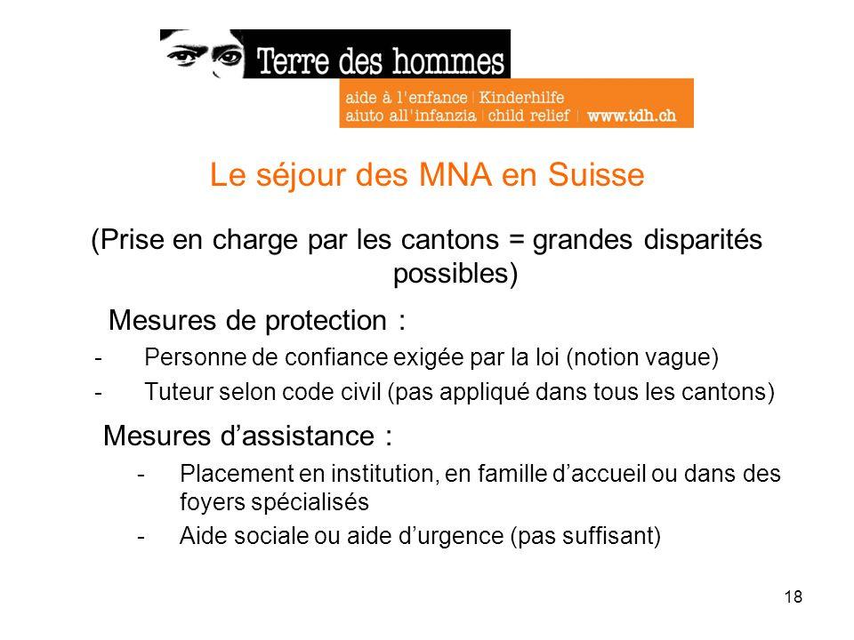 18 Le séjour des MNA en Suisse (Prise en charge par les cantons = grandes disparités possibles) Mesures de protection : -Personne de confiance exigée