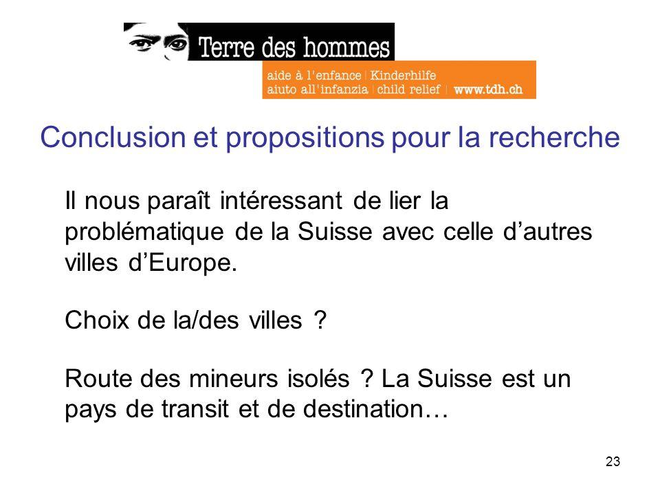 23 Conclusion et propositions pour la recherche Il nous paraît intéressant de lier la problématique de la Suisse avec celle dautres villes dEurope. Ch