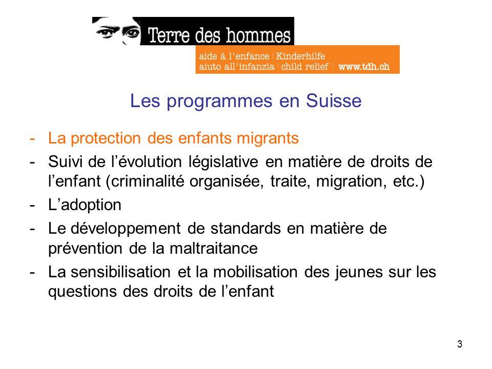 4 La protection des enfants migrants -Collaboration avec lInstitut des Droits de lenfant (IDE), la Fondation suisse du Service Social International (SSI) et la section suisse de lUNICEF -Collaboration avec le Service de coordination contre la traite dêtres humains et le trafic de migrants (SCOTT) -Suivi de lévolution des lois -Alliance pour les droits des mineurs non accompagnés en Suisse (Tdh, SSI et IDE) -Collaboration avec le Programme en faveur des enfants séparés en Europe -Participation des mineurs non accompagnés