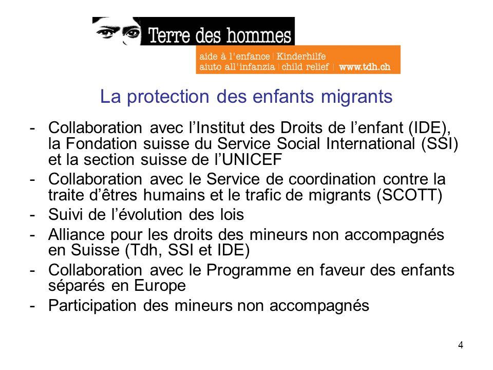4 La protection des enfants migrants -Collaboration avec lInstitut des Droits de lenfant (IDE), la Fondation suisse du Service Social International (S
