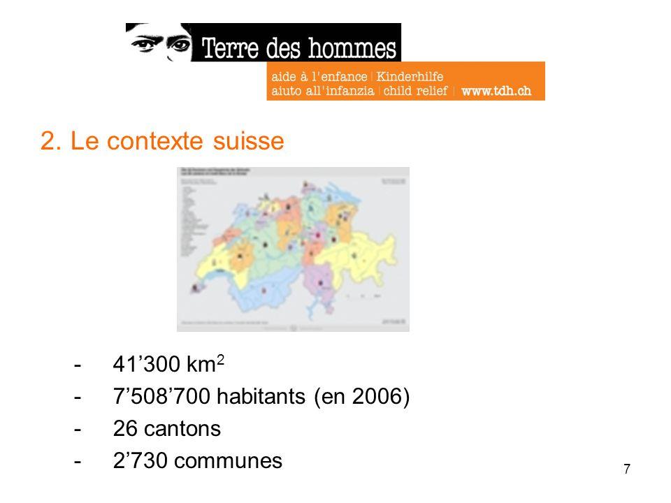 7 2. Le contexte suisse -41300 km 2 -7508700 habitants (en 2006) -26 cantons -2730 communes