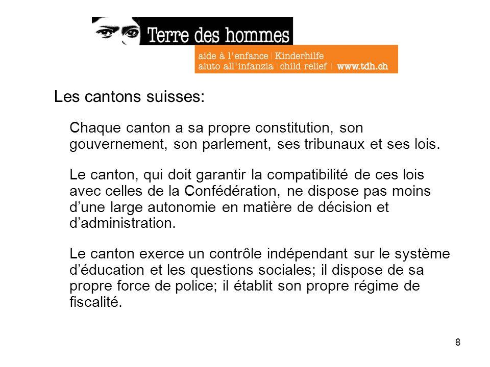 8 Les cantons suisses: Chaque canton a sa propre constitution, son gouvernement, son parlement, ses tribunaux et ses lois. Le canton, qui doit garanti