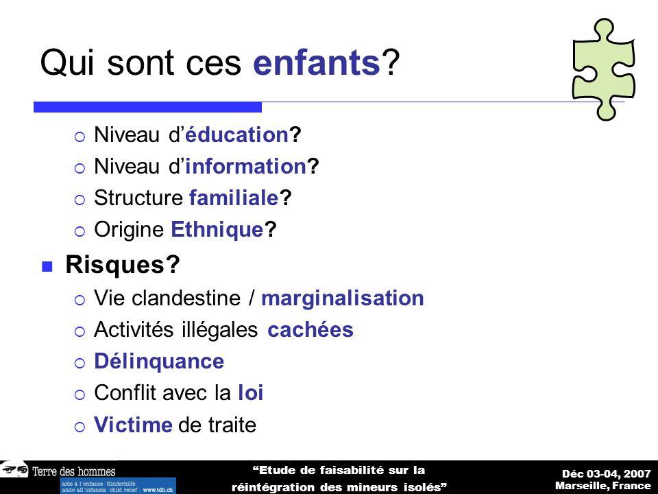 Déc 03-04, 2007 Marseille, France Etude de faisabilité sur la réintégration des mineurs isolés Qui sont ces enfants.