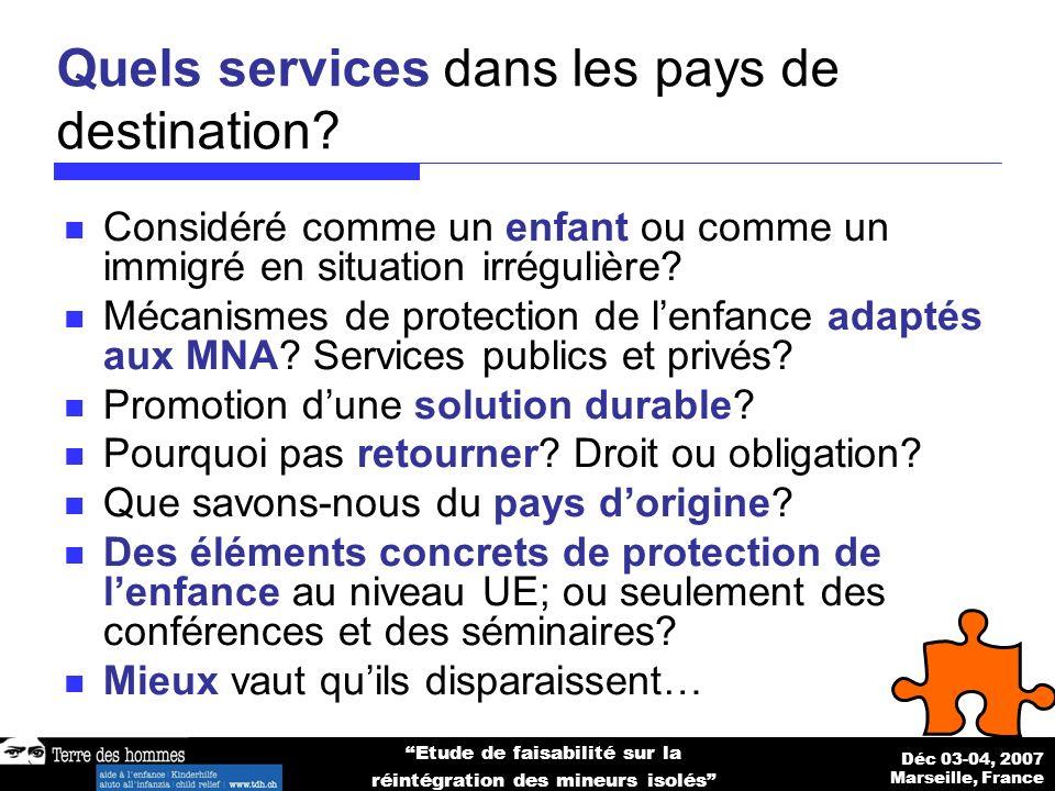Déc 03-04, 2007 Marseille, France Etude de faisabilité sur la réintégration des mineurs isolés Quels services dans les pays de destination.