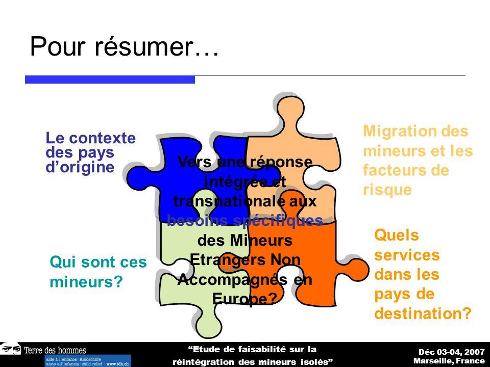 Déc 03-04, 2007 Marseille, France Etude de faisabilité sur la réintégration des mineurs isolés Pour résumer… Le contexte des pays dorigine Migration des mineurs et les facteurs de risque Qui sont ces mineurs.