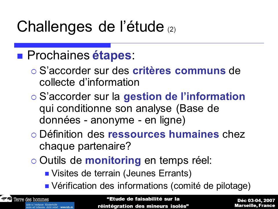 Déc 03-04, 2007 Marseille, France Etude de faisabilité sur la réintégration des mineurs isolés Challenges de létude (2) Prochaines étapes: Saccorder sur des critères communs de collecte dinformation Saccorder sur la gestion de linformation qui conditionne son analyse (Base de données - anonyme - en ligne) Définition des ressources humaines chez chaque partenaire.