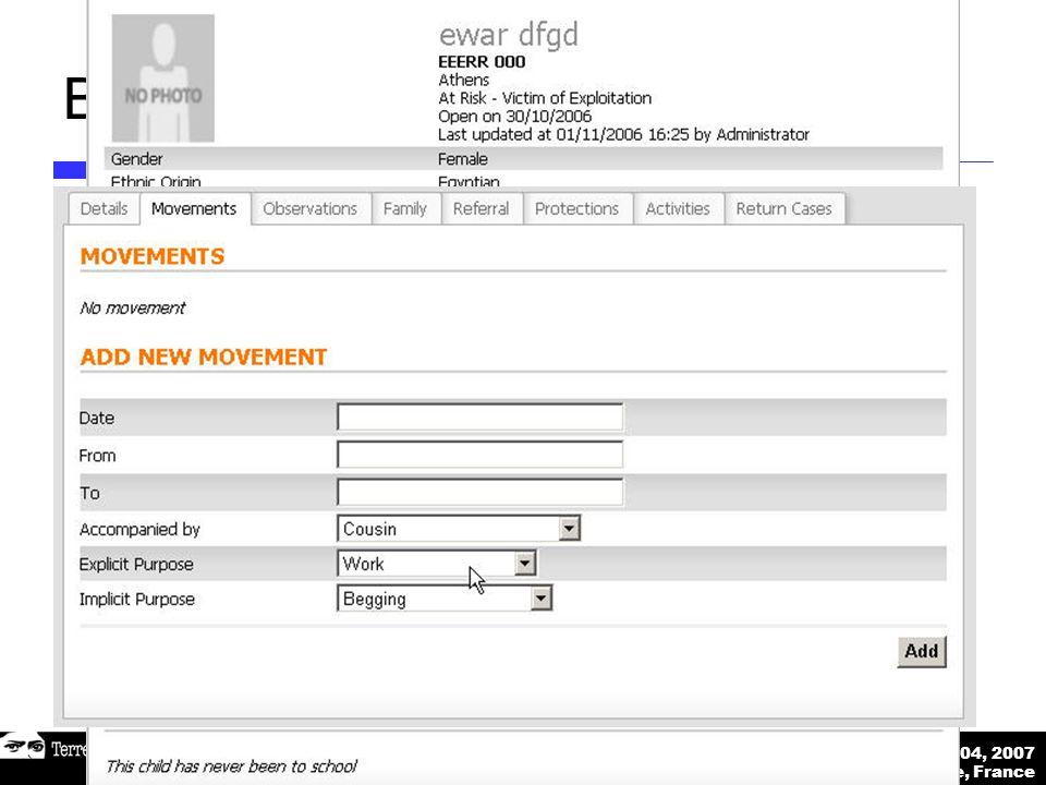 Déc 03-04, 2007 Marseille, France Etude de faisabilité sur la réintégration des mineurs isolés Base de données en ligne