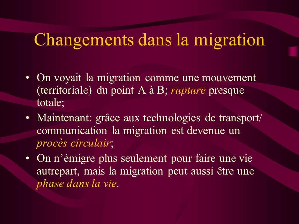 Changements dans la migration On voyait la migration comme une mouvement (territoriale) du point A à B; rupture presque totale; Maintenant: grâce aux technologies de transport/ communication la migration est devenue un procès circulair; On némigre plus seulement pour faire une vie autrepart, mais la migration peut aussi être une phase dans la vie.