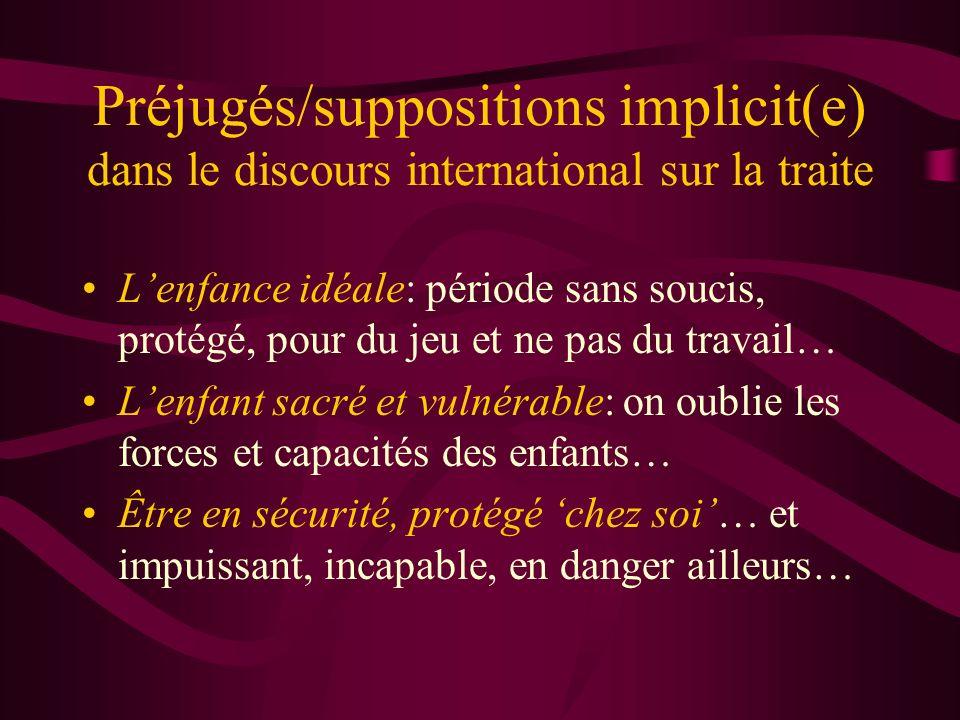 Préjugés/suppositions implicit(e) dans le discours international sur la traite Lenfance idéale: période sans soucis, protégé, pour du jeu et ne pas du