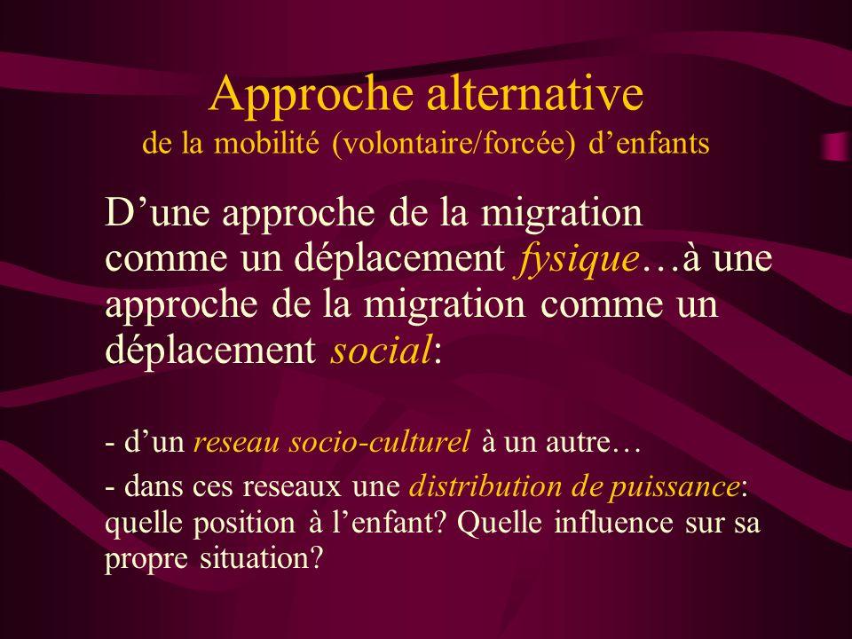 Approche alternative de la mobilité (volontaire/forcée) denfants Dune approche de la migration comme un déplacement fysique…à une approche de la migration comme un déplacement social: - dun reseau socio-culturel à un autre… - dans ces reseaux une distribution de puissance: quelle position à lenfant.