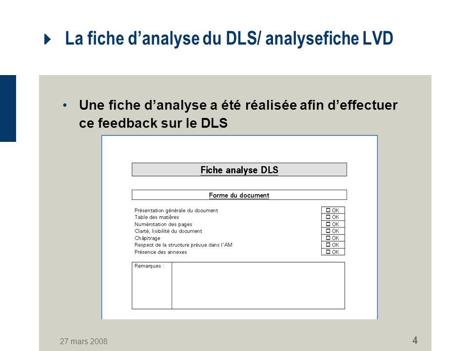 27 mars 2008 4 La fiche danalyse du DLS/ analysefiche LVD Une fiche danalyse a été réalisée afin deffectuer ce feedback sur le DLS