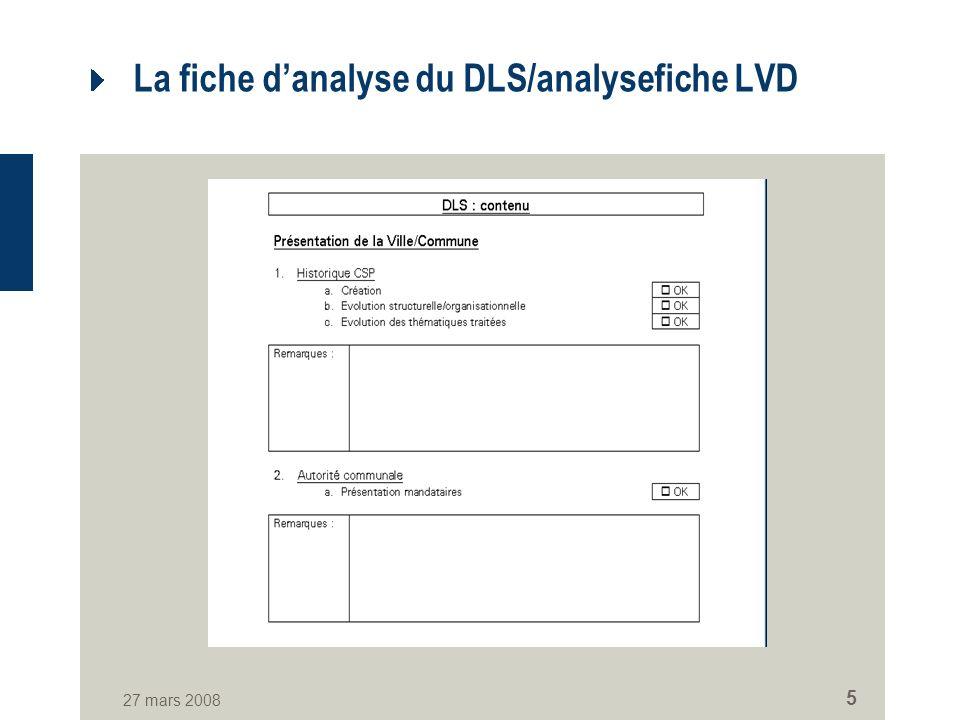 27 mars 2008 5 La fiche danalyse du DLS/analysefiche LVD