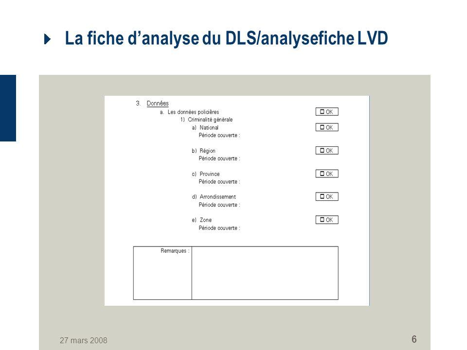 27 mars 2008 6 La fiche danalyse du DLS/analysefiche LVD