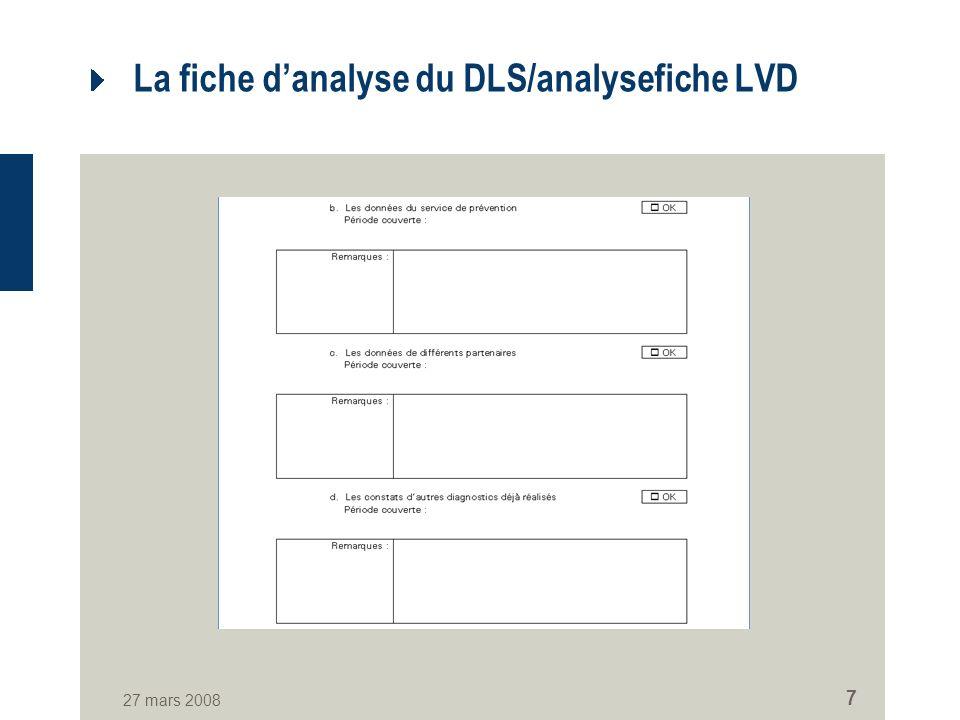 27 mars 2008 7 La fiche danalyse du DLS/analysefiche LVD