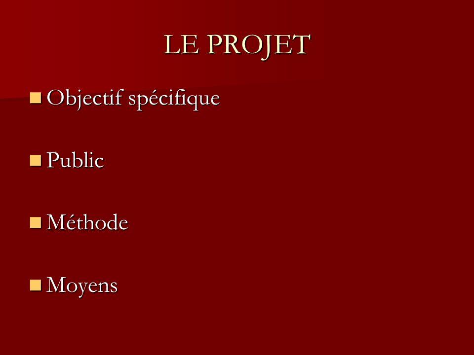 LE PROJET Objectif spécifique Objectif spécifique Public Public Méthode Méthode Moyens Moyens