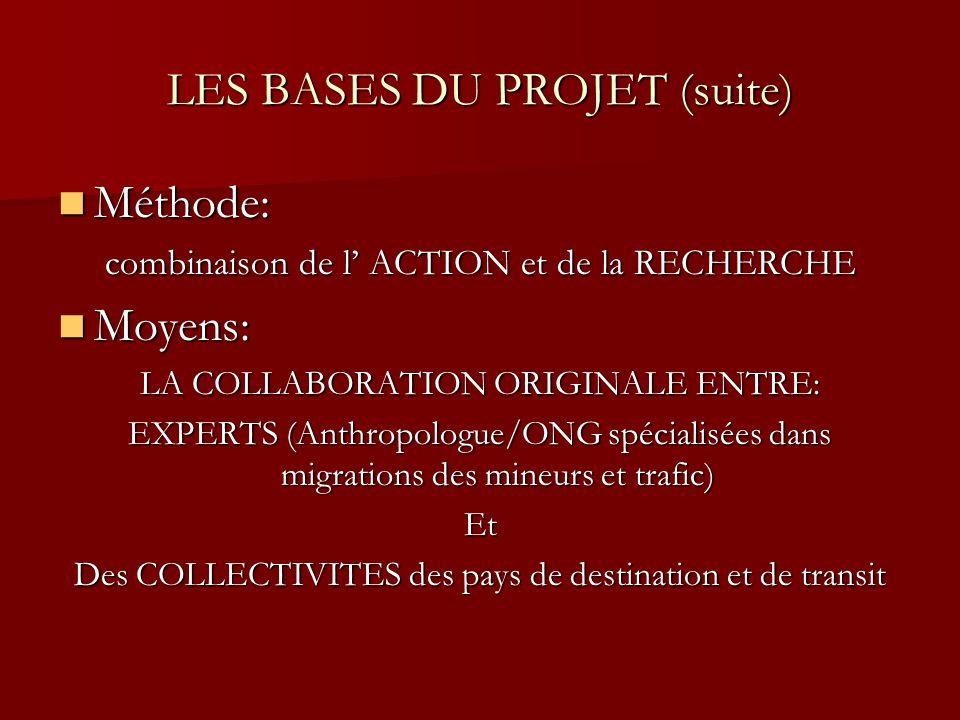 LES BASES DU PROJET (suite) Méthode: Méthode: combinaison de l ACTION et de la RECHERCHE Moyens: Moyens: LA COLLABORATION ORIGINALE ENTRE: EXPERTS (An