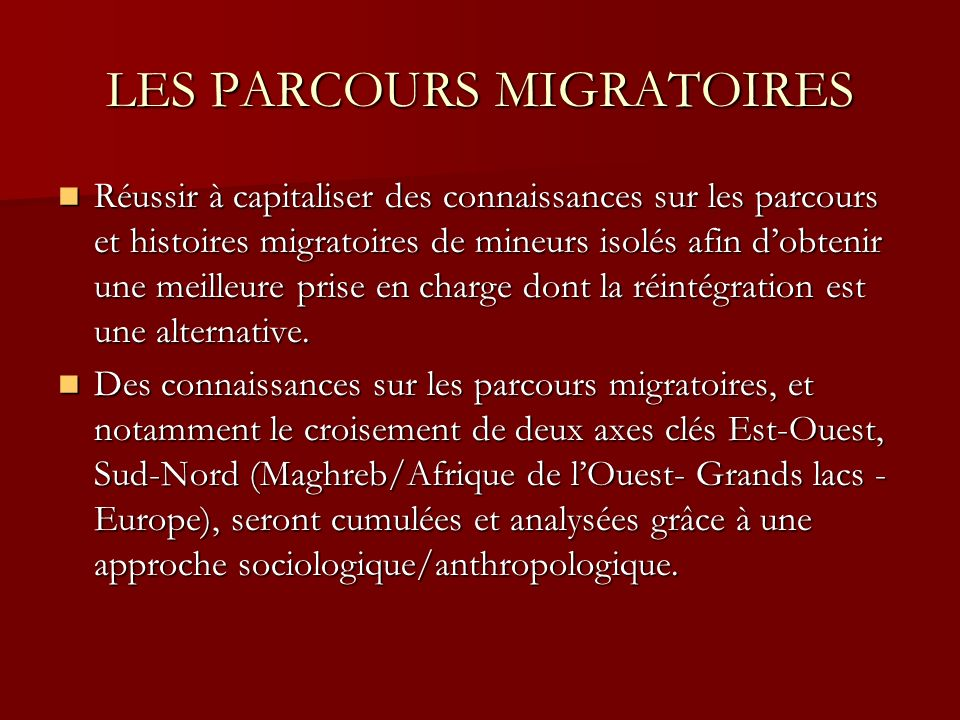 LES PARCOURS MIGRATOIRES Réussir à capitaliser des connaissances sur les parcours et histoires migratoires de mineurs isolés afin dobtenir une meilleure prise en charge dont la réintégration est une alternative.