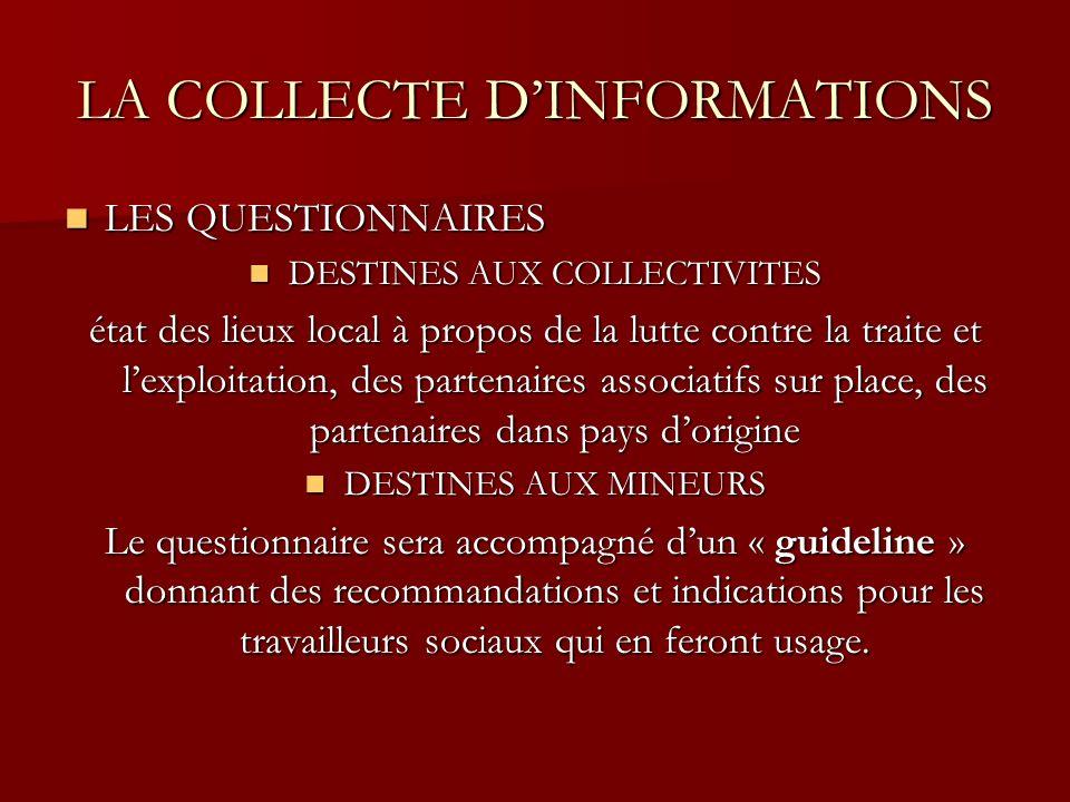 LA COLLECTE DINFORMATIONS LES QUESTIONNAIRES LES QUESTIONNAIRES DESTINES AUX COLLECTIVITES DESTINES AUX COLLECTIVITES état des lieux local à propos de la lutte contre la traite et lexploitation, des partenaires associatifs sur place, des partenaires dans pays dorigine DESTINES AUX MINEURS DESTINES AUX MINEURS Le questionnaire sera accompagné dun « guideline » donnant des recommandations et indications pour les travailleurs sociaux qui en feront usage.