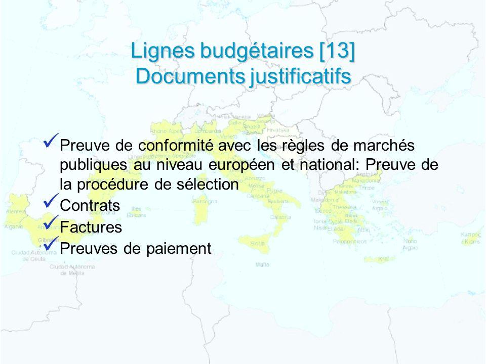 Lignes budgétaires [13] Documents justificatifs Preuve de conformité avec les règles de marchés publiques au niveau européen et national: Preuve de la procédure de sélection Contrats Factures Preuves de paiement