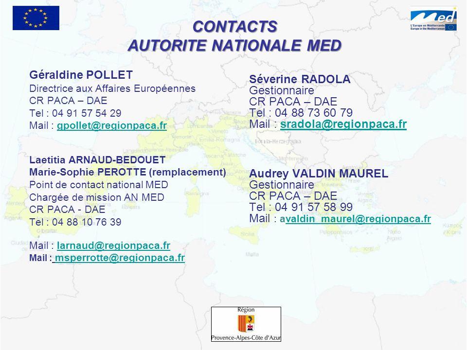 CONTACTS AUTORITE NATIONALE MED Géraldine POLLET Directrice aux Affaires Européennes CR PACA – DAE Tel : 04 91 57 54 29 Mail : gpollet@regionpaca.frgp