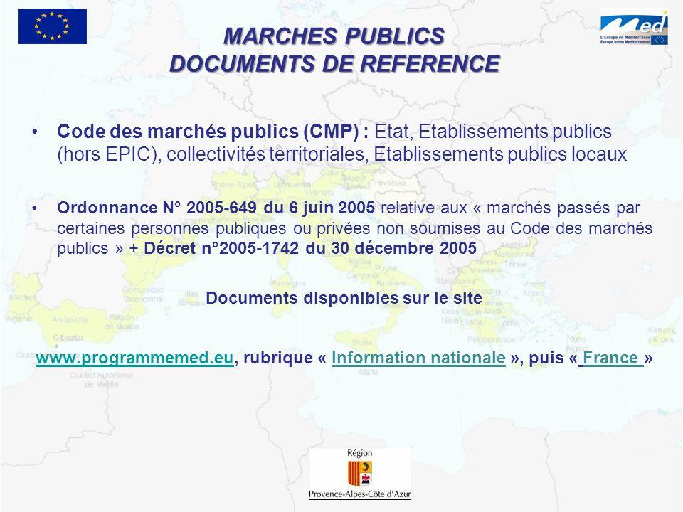 MARCHES PUBLICS DOCUMENTS DE REFERENCE Code des marchés publics (CMP) : Etat, Etablissements publics (hors EPIC), collectivités territoriales, Etablis