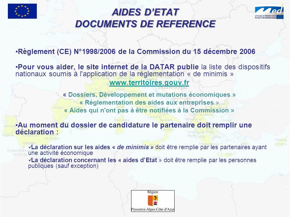 AIDES DETAT DOCUMENTS DE REFERENCE Règlement (CE) N°1998/2006 de la Commission du 15 décembre 2006 Pour vous aider, le site internet de la DATAR publi