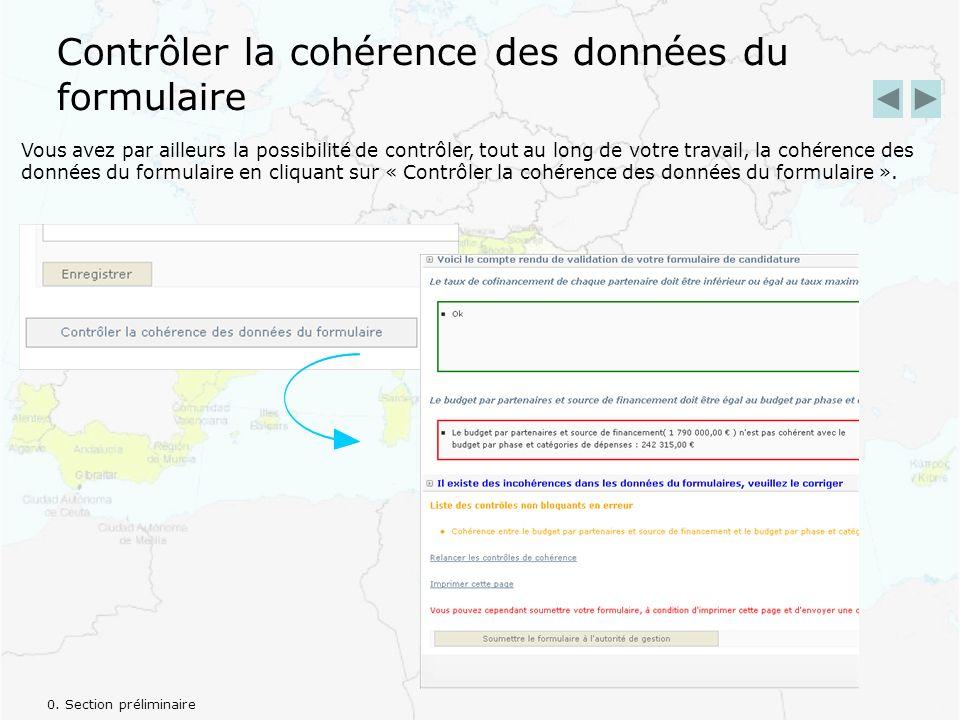 Contrôler la cohérence des données du formulaire Vous avez par ailleurs la possibilité de contrôler, tout au long de votre travail, la cohérence des données du formulaire en cliquant sur « Contrôler la cohérence des données du formulaire ».