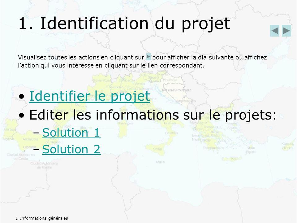 1. Identification du projet Visualisez toutes les actions en cliquant sur pour afficher la dia suivante ou affichez laction qui vous intéresse en cliq