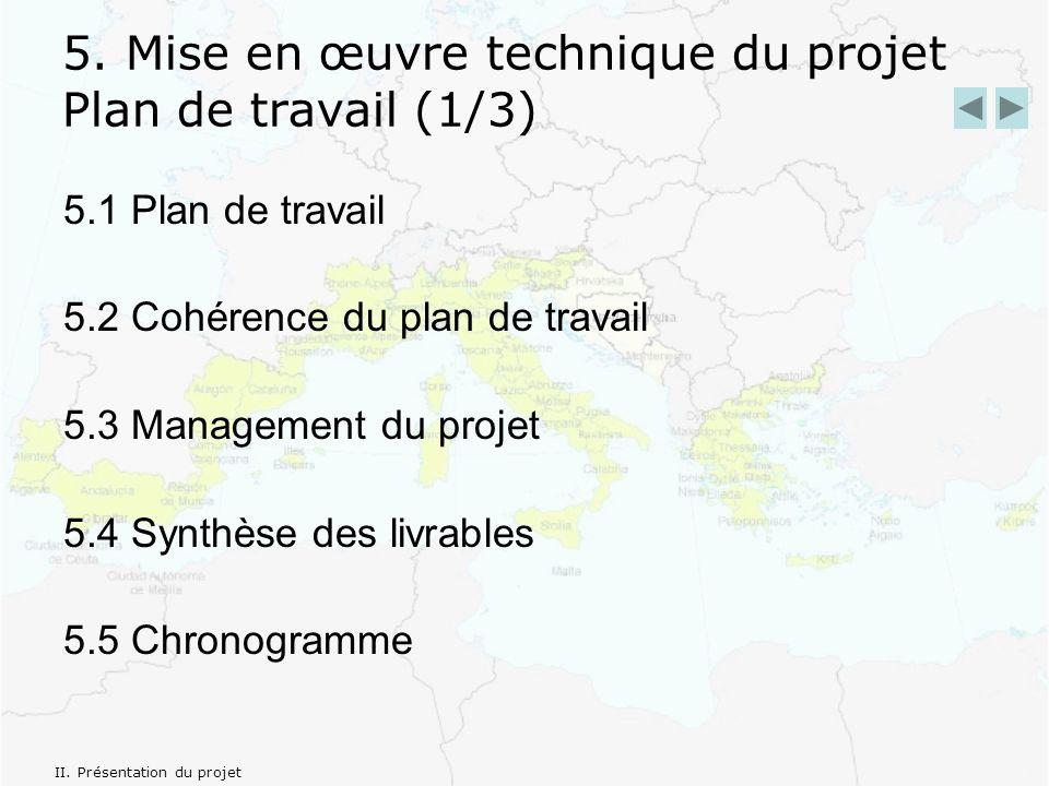5. Mise en œuvre technique du projet Plan de travail (1/3) 5.1 Plan de travail 5.2 Cohérence du plan de travail 5.3 Management du projet 5.4 Synthèse